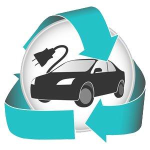 Focus sur la voiture hybride logo